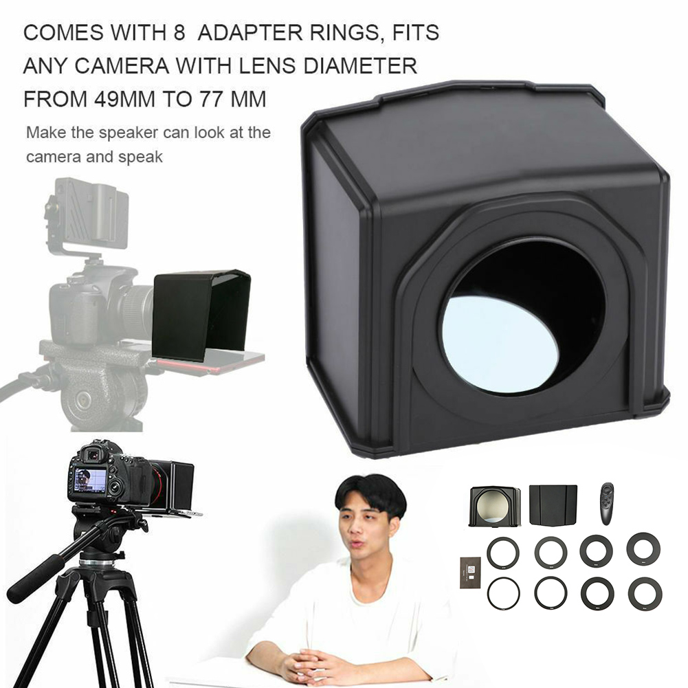 T1 Practical Mini Teleprompter Set Professional Photo Studio Phone Use With Adapter Ring Easy Operate Portable DSLR Camera ABST1 Practical Mini Teleprompter Set Professional Photo Studio Phone Use With Adapter Ring Easy Operate Portable DSLR Camera ABS