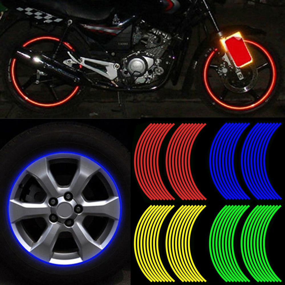 New 16 Strips Wheel Sticker Reflective Rim Stripe Tape Bike Car Motorcycle s