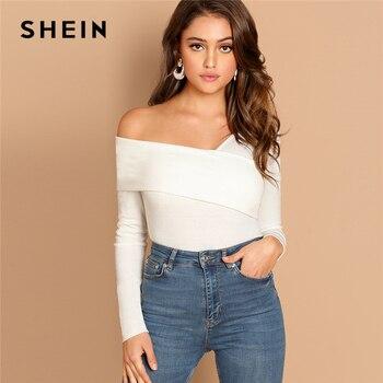 Shein branco assimétrico pescoço sólido t rib-knit magro ajuste festa casual pulôver camisa de manga longa 2018 outono mulher tshirt topo