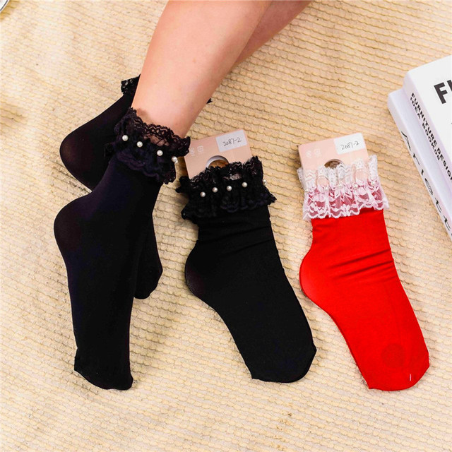 29b3e56d2812a 2018 New Real Calcetines Mujer Christmas Socks Summer Fashion Pearl Lace  Socks All-match Plastic Thin Legs Lady Wholesale Piles