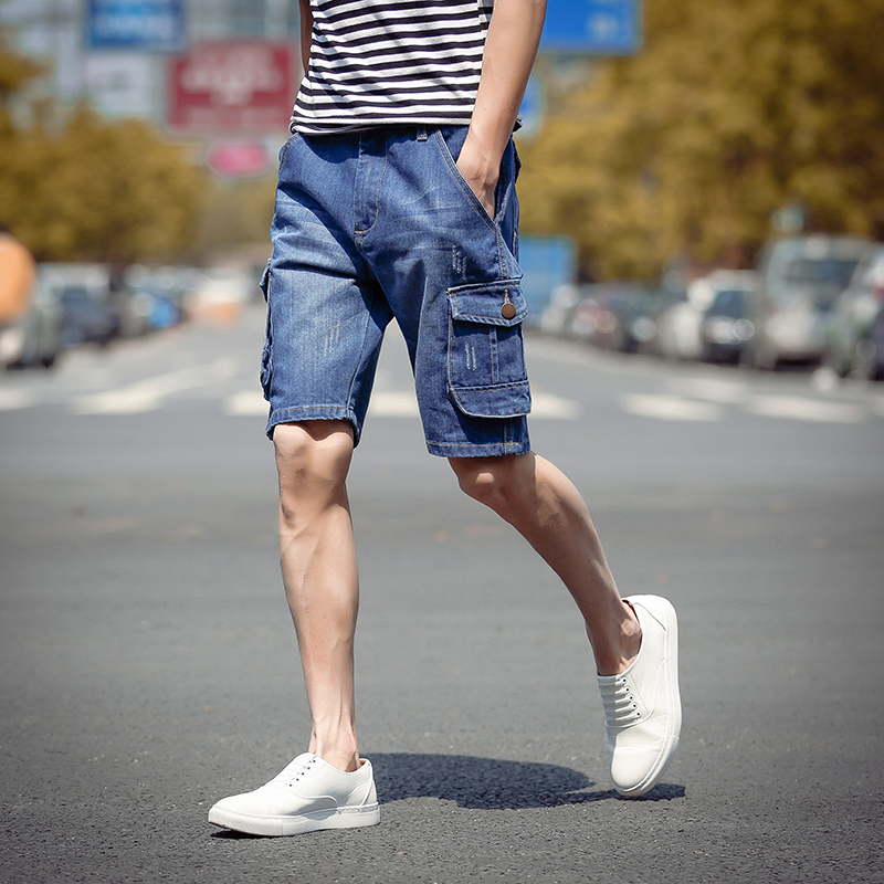 2017 New men summer solid military cargo shorts jeans bermuda masculina jeans male fashion loose baggy denim shorts homme