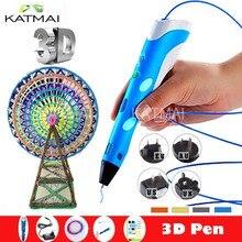 Новый Магия 3d-принтер пера 3D Ручка С 3 Цвета ABS нити 3D Печать 3d ручки для детей на день рождения Рождественских Подарков