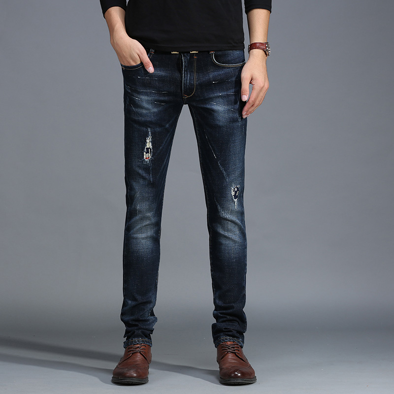 Spring autumn and winter fashion jeans male youth SLIM STRAIGHT pants Metrosexual beggar patch leisure men