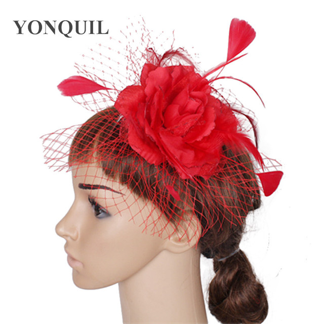 women feather fascinator hats good bridal wedding hats Very nice red white  pink gold colors Free eab0fb8fa39