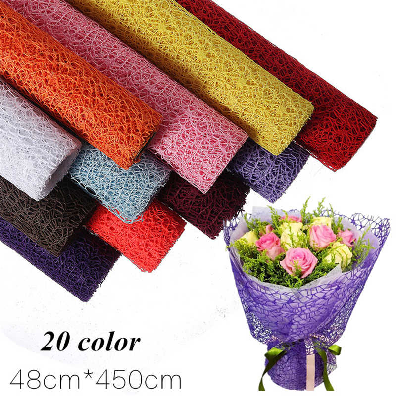 5 Yard/roll 20 Color Flower Packaging Paper Wrap Material Paper Bouquet Florist Supplies Gift Wrapping Jacquard Material