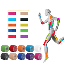 2 サイズ 5 メートルの長さ弾性スポーツテープキネシオロジーテープ運動ストラップジムフィットネスランニング膝筋肉痛ケア