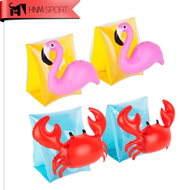 1Pair PVC Swimming Arm Ring Crab Flamingo Inflatable Arm Bands Floatation Sleeves Water Wings Swimming Arm Floats for Children