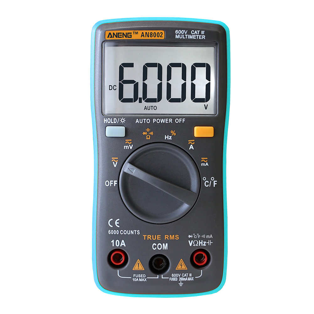 Portable Auto Digital Multimeter 6000Counts Backlight AC/DC Volt Amp Ohm Temperature Meter Ammeter Voltmeter Tester FreeShipping new arrival lcd digital voltmeter ammeter ohm multimeter volt ac dc capacitance tester meter