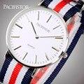 PACIFISTOR Tecido Strap Caixa Em Aço Inoxidável relógios de Pulso de Quartzo Relógios de Luxo Da Marca Dos Homens Das Mulheres Relógios Relógio Relogio feminino