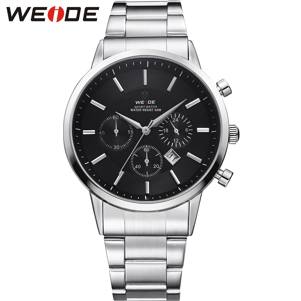 WEIDE Big Black 3 Dial Mens Watches Japan Quartz Movement Full Stainless Steel 3ATM Waterproof Fashion Wrist Watch Sale Items free shipping 10pcs 1203p100 dip8