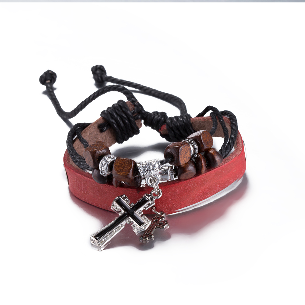 Hot Selling Vintage Cross Pendant Women Charm Bracelet Red Leather Hemp  Rope Wrap Bangle Wooden Beads