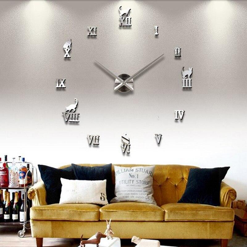 eb67b2a79 جديد ووتش ساعة حائط diy الساعات المنزل الديكور الاكريليك ميرور جدار ملصق  كبير ملصقا بيع الكوارتز الحديثة المعادن