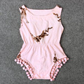 Dia de páscoa Do Bebê Meninas Bodysuit Coelho Bonito Impresso Meninas Outfit Playsuit Pom Pom vestido Sem Mangas Meninas Do Bebê Crianças Roupas de Verão
