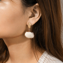 Elegant Shell Alloy Drop Earrings ZA Cute Chic Statement Dangle For Women Wedding Party Gifts Irregular Jewelry