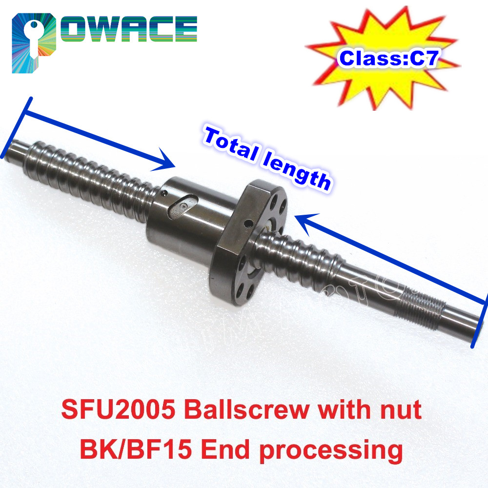 CNC Ball Screw End Machined C7 SFU2005 L200-2000MM w// Single Ballnut RM2005