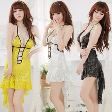 Sexy Erotic mini dress shinny Perspective Underwear Costume Backless Sexy Sequins Fishtail skirt Lenceria lady