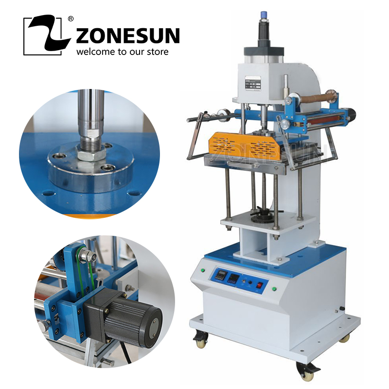 ZONESUN ZY-819Q Machine à emboutir pneumatique en cuir LOGO machine à rainer LOGO stampler nom carte estampage