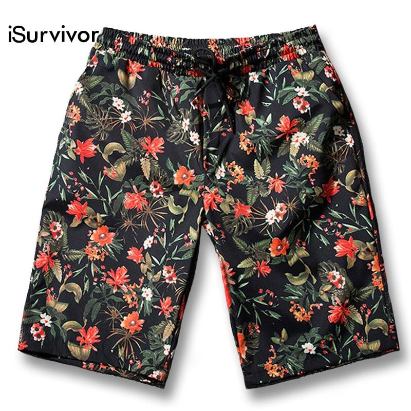 iSurvivor 2019 Men Summer Knee Length Floral Board Shorts