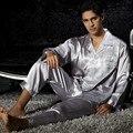Turn-Down Collar Luva Cheia Homem Pijama Define Prateado Cinza Pijamas de Seda Emulação Camisola Suave Além de Grande Tamanho XXXL 3313