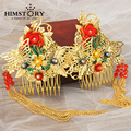 Classic Vintage Wedding Cheongsam Hair Comb Hair Accessories Gold Suit Chinese Style Jewelry Long Tassels Hairwear