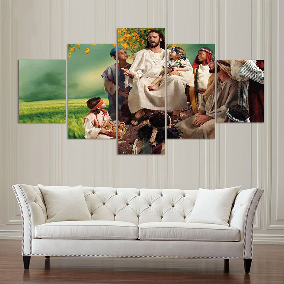 Moderne Abstrakte Kunstwerke 5 Panel Jesus Moderne Home Kunst Decor ...
