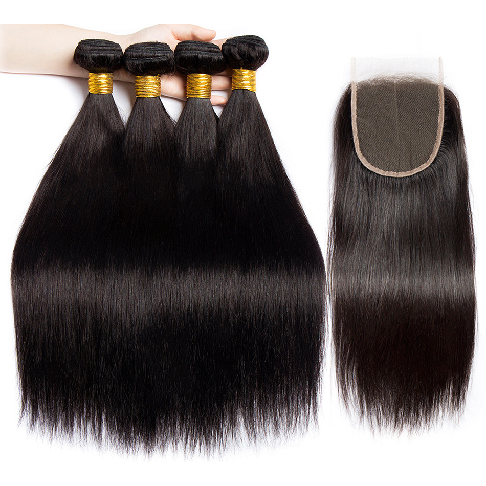 Alibele Peruvian Straight Hair Bundles With Closure Remy Hair Weave 3 Bundle Natural Blak Human Hair
