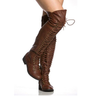 Women Fashion Over Knee Black Brown Lace up Low Heel Long Boots Lace up Zipper up Long Knight Boots High Quality Warm Boots