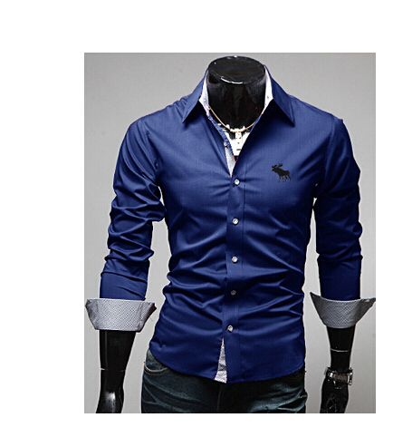 Free ship 2016 New Arrival Men's Long-sleeve Shirts Turn -down Collar Classic moose embroidery Casual Slim Fit Shirts For Men