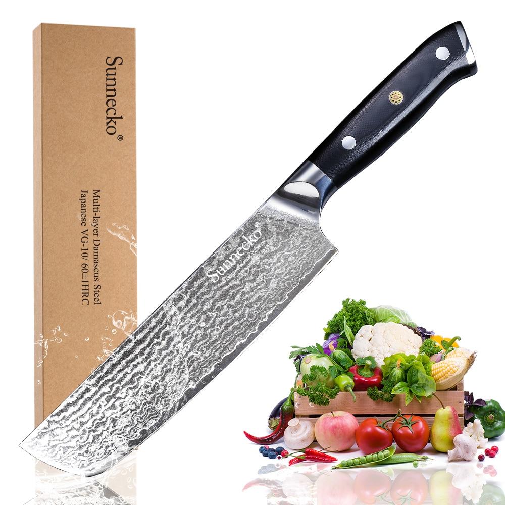 """SUNNECKO 7 """"inç Cleaver Chef's Knife Japoneze VG10 Core Kuzhina Thika rroje Razor Sharp Blade G10 Trajtuar Damask Steel"""