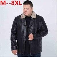 Plus Size 2017 New 8XL 6XL 5XL 4XL Jacket Fur Collar Genuine Leather Jacket Men Black