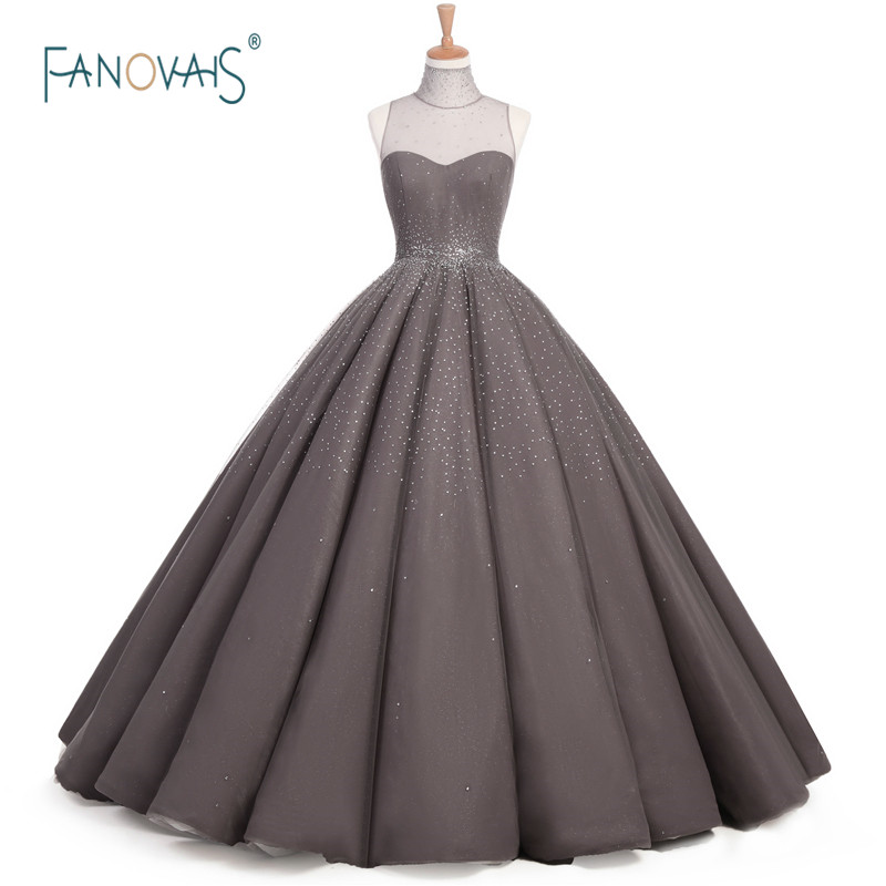 럭셔리 빈티지 이브닝 드레스 크리스탈 이브닝 드레스와 함께 공식적인 이브닝 가운 긴 회색 댄스 파티 드레스 Vestido Longo MB01