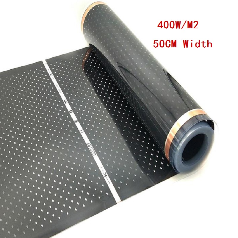 All Sizes 400w/m2 Infrared Carbon AC220V Underfloor Heating Film Low Electrical Warm Mat