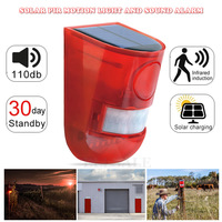 Sensor de alarme de movimento com infravermelho  luz estroboscópica de 110db para casa  jardim  shed carvan  sistema de alarme de segurança