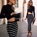 FANALA 2017 Striped Skirt Women Spring Autumn Bodycon Skirt long Skirt High Waist Long Sleeve Skirts with Women Crop Tops