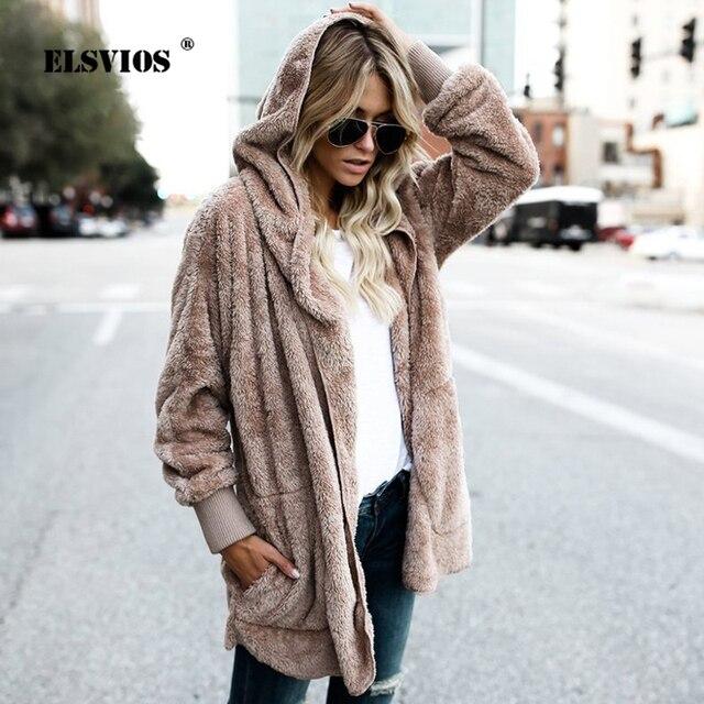 5e2d4f142ac ELSVIOS 5XL Women Two Sides Wear Faux Fur Cardigans Hooded Coat Winter  Fluffy Warm Oversized Jacket Casual Autumn Tops Outwear