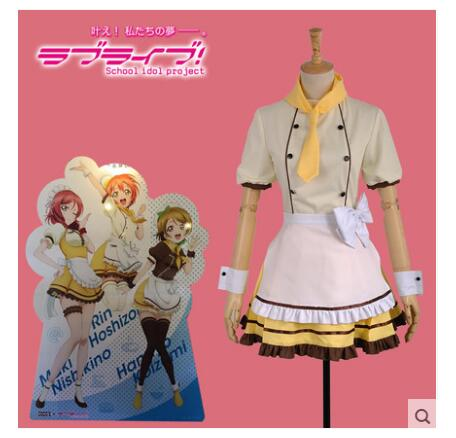 Love Live Hoshizora Rin Maid Dress In COCOs Coffee Shop Cosplay Costume Custom Made Unisex Free Shipping