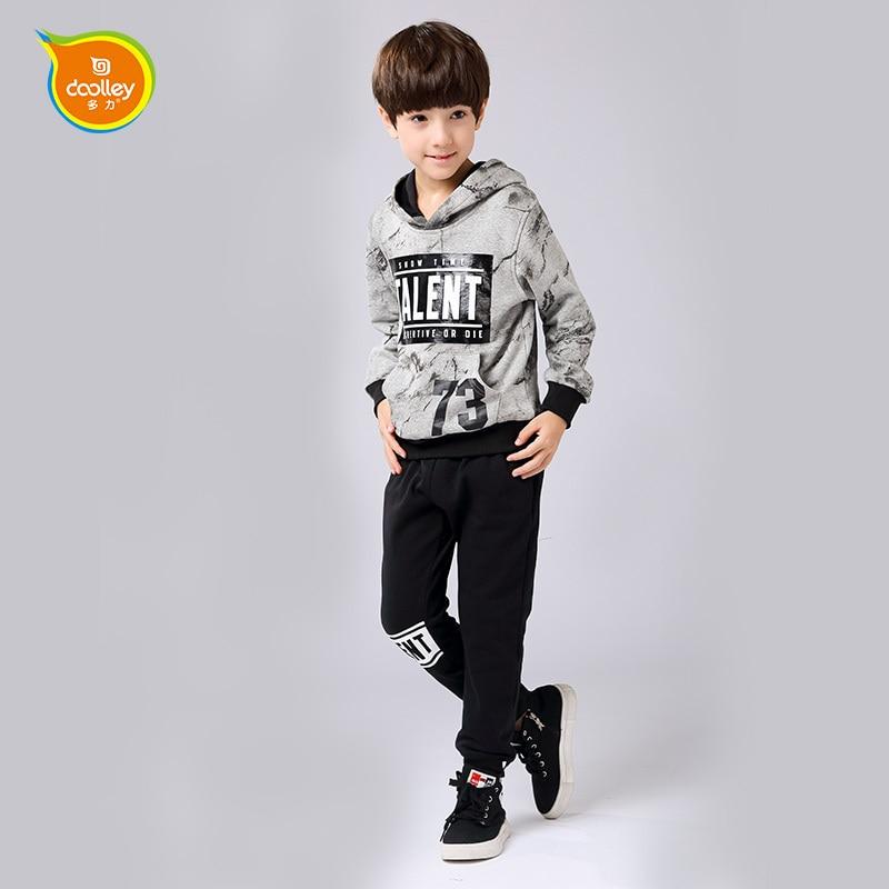 купить DOOLLEY Boy Cotton Suits Hoodies + Pants Autumn Winter Clothing 2017 New Arrival Children Fashion Clothing Sets Size 120-170 cm дешево