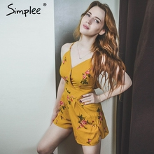 Simplee Sexy v neck print boho jumpsuit romper Backless tie up short jumpsuit women Pleated high waist casual summer playsuit