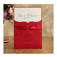50pcs Pack Delicate Carved Pattern Romantic Red Ribbon Invitation Card For Wedding Business Party Birthday