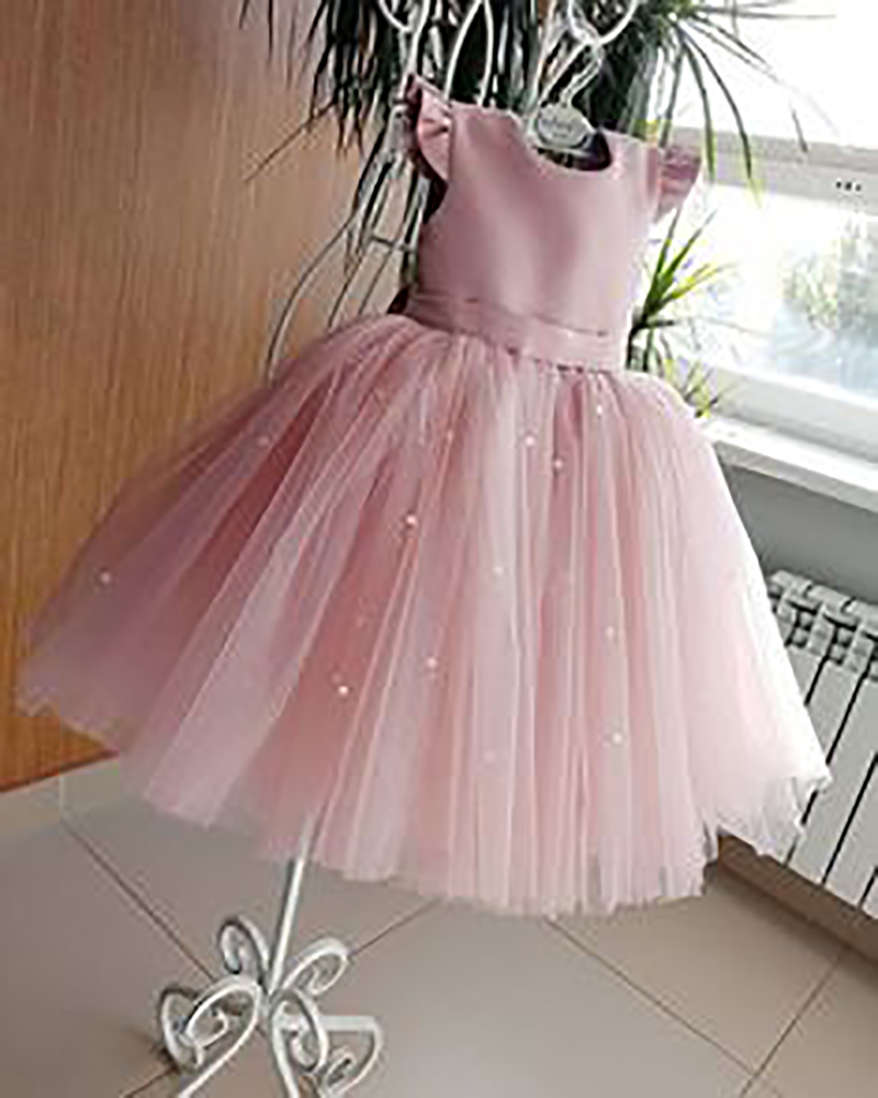 Smileven Blue Cheap Flower Girl Dress 2019  Princess A Line Kids Toddler First Communion Dress With Bow Party Girl Dress