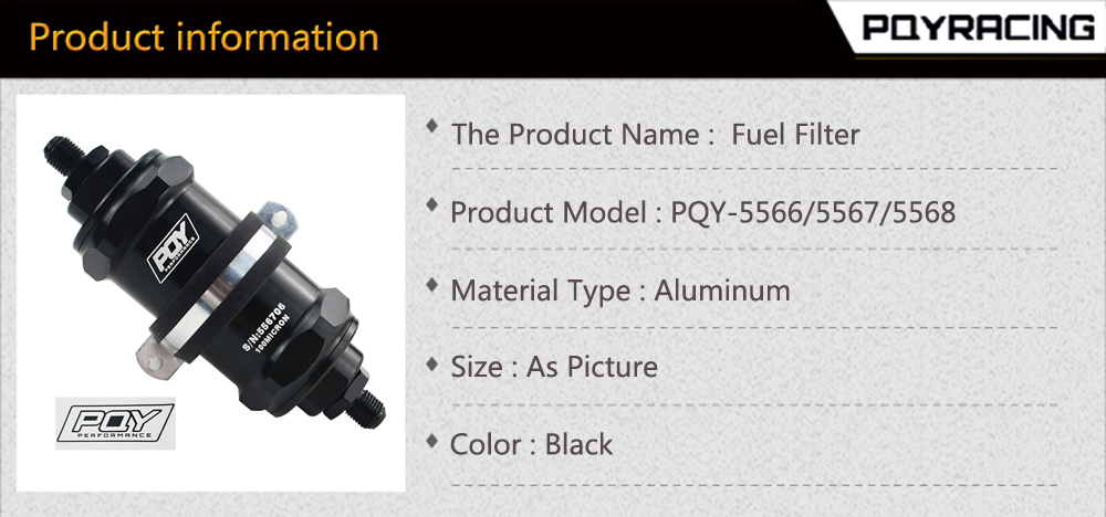 PQYRACING AN8 Inline PQY Fuel Filter E85 Ethanol with 100 Micron Stainless Steel Element and PQY Sticker