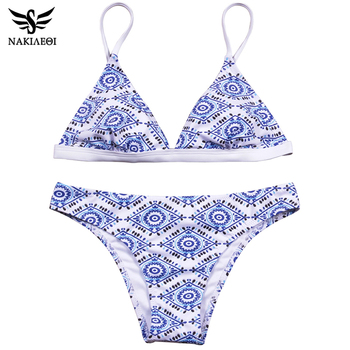 NAKIAEOI 2018 Sexy Bikini Women Swimsuit Push Up Swimwear Female Bandeau Brazilian Bikini Set Printed Beach Bathing Suit Biquini 1