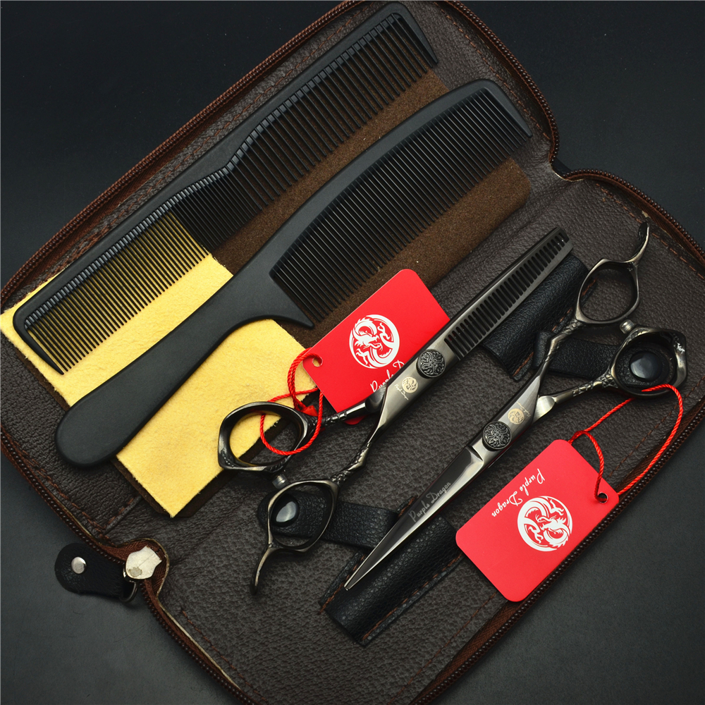 4Pcs Suit 6 Inch Black Professional Human Hair Scissors Hairdressing Combs + Cutting + Thinning Shears Hair Styling Tools Z9001 free ship 6 hair cutting scissors high quality professional sus440c hair styling tools