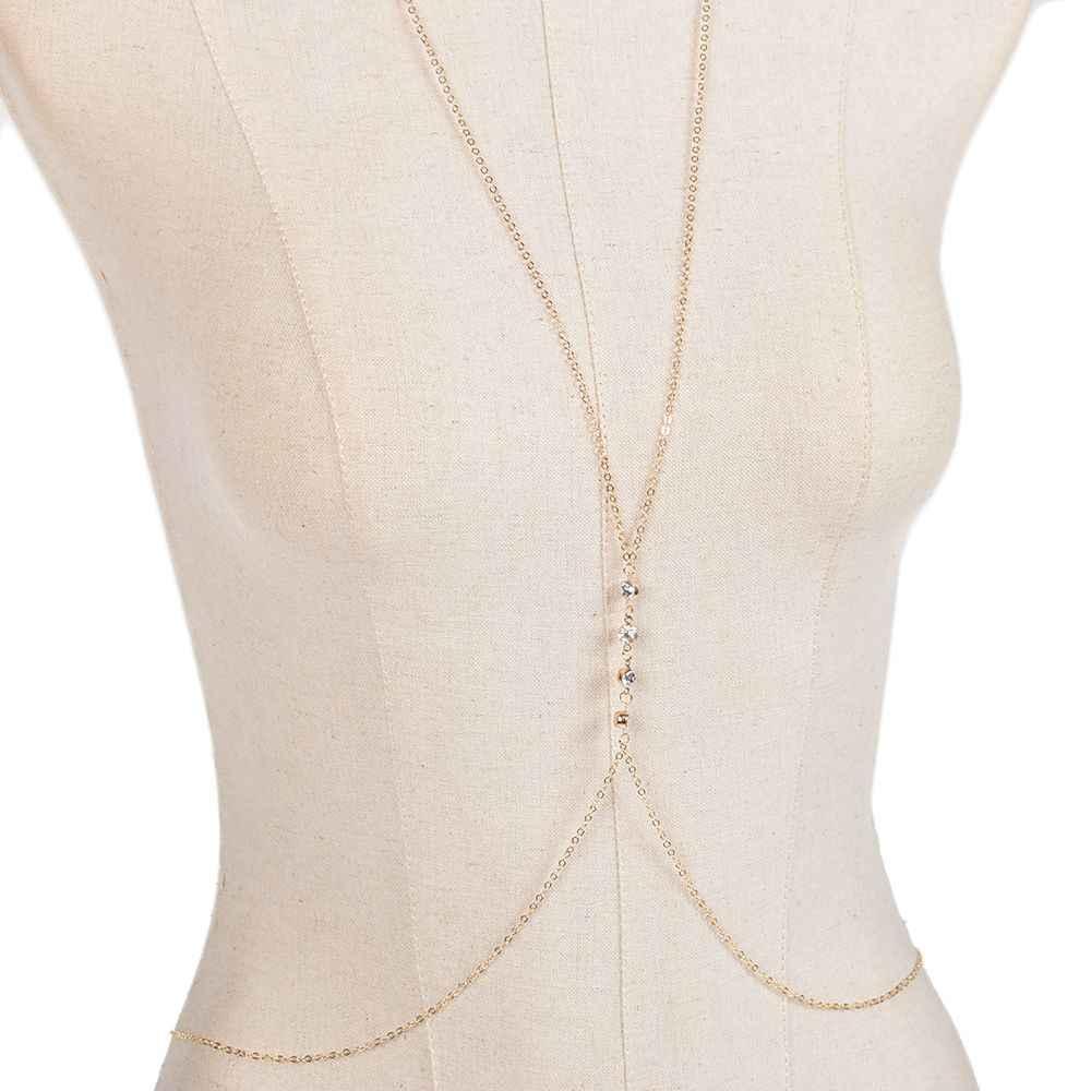1 pc di Modo Oro/Argento Pancia Della Vita Del Bikini Crossover Harness Catena Del Corpo Della Collana fine jewelry Bikini Harness Collana