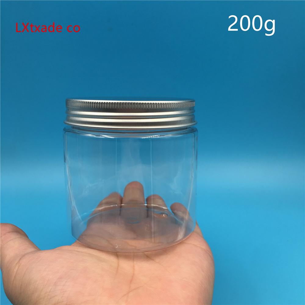 Free Shipping 50ml 100ml 250ml Empty Clear Plastic Packaging Bottle Jar silver Lid With Window Cosmetic