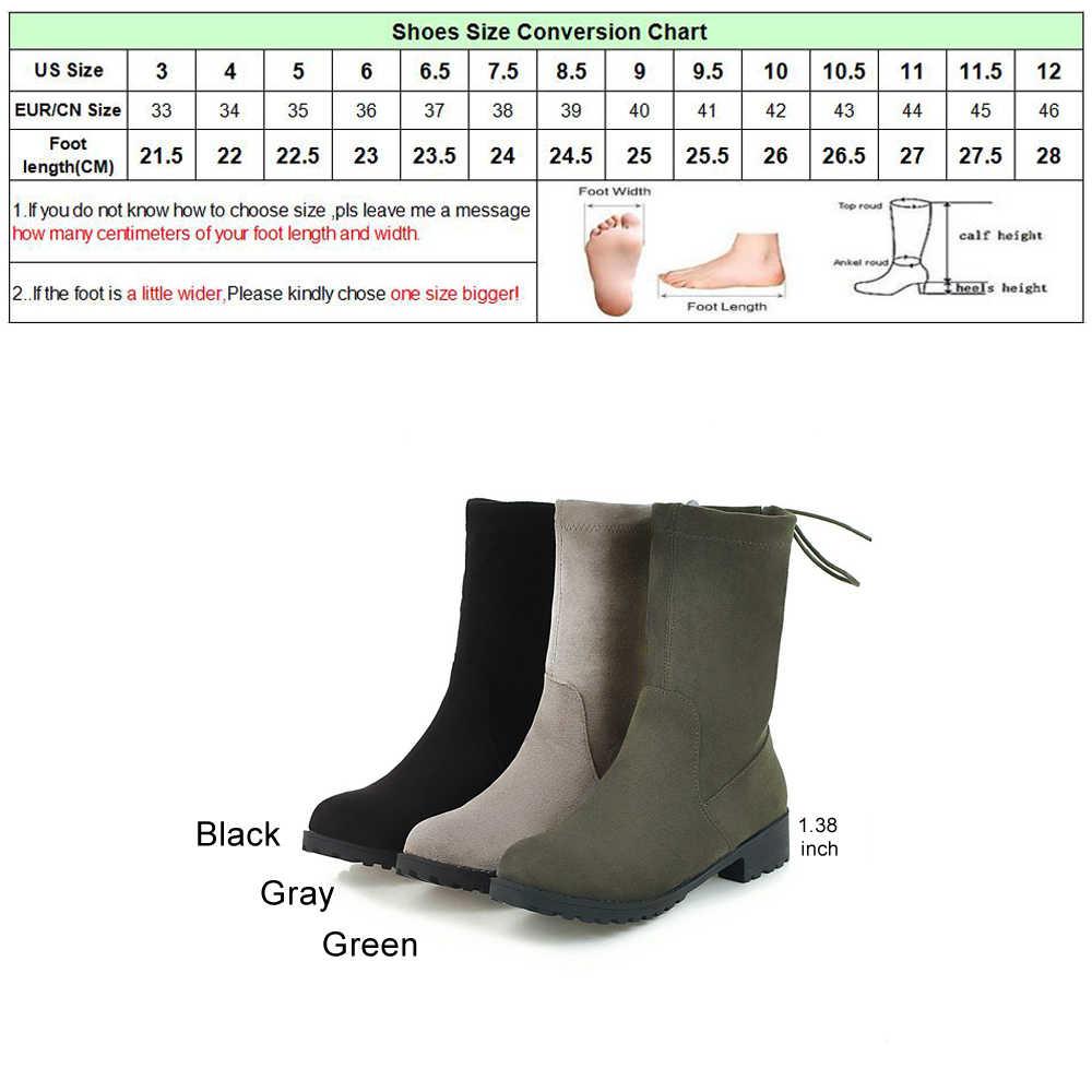 Meotina Ayakkabı Kadın Orta Buzağı Çizmeler Kış Yuvarlak Ayak Kare Topuk Çizmeler Sonbahar Lace Up Moda Çizmeler Gri Siyah Büyük boyutu 34-43