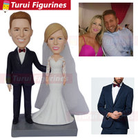 Custom made bobbleheads from photo Custom Wedding Couple Bobblehead That Look Like You wedding cake toppers silhouette statue