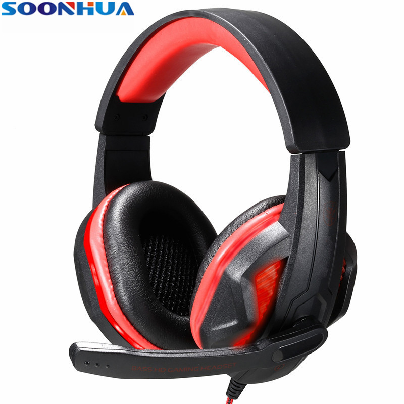 SOONHUA 3.5mm LED Earphone Gaming Headset Gamer PC Headphone Headband Stereo Game Headphone With Microphone For Computer led bass hd gaming headset mic stereo computer gamer over ear headband headphone noise cancelling with microphone for pc game