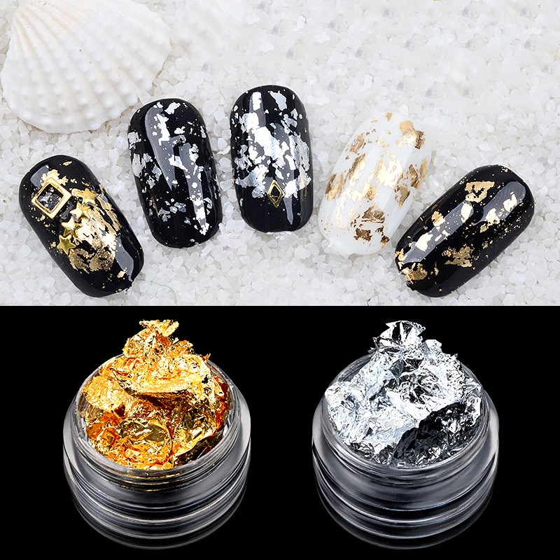 1 Box Gold Silver Irregular Aluminum Foil Paper Nail Art Sticker 3D Glitter DIY Manicure UV Gel Polish Nail Decoration Tools