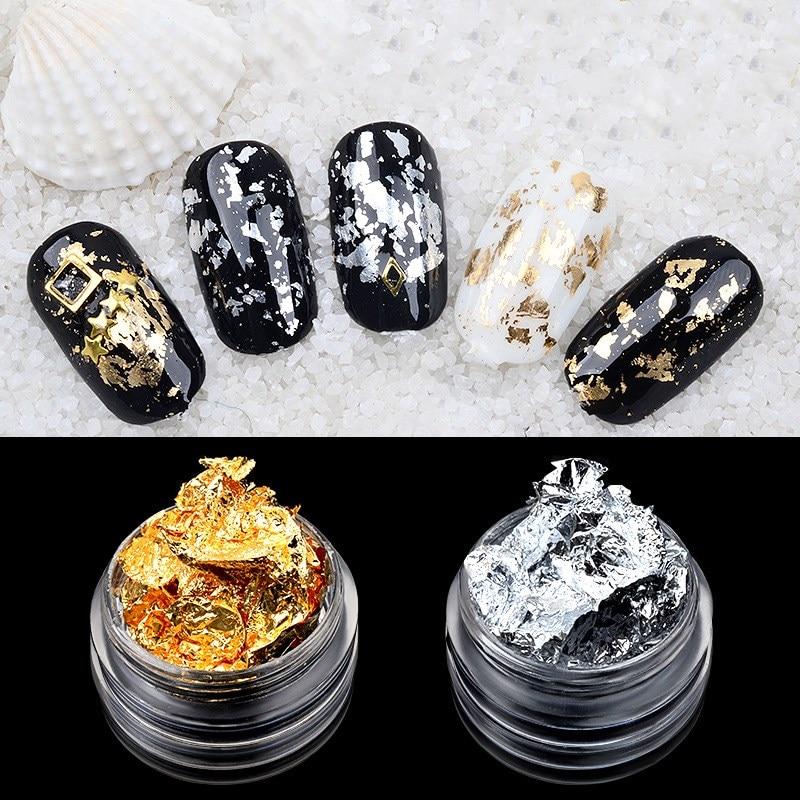 1 Box Gold Silver Irregular Aluminum Foil Paper Nail Art Sticker 3D Glitter DIY Manicure UV Gel Polish Nail Decoration Tools(China)